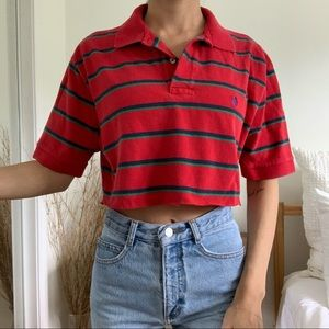 Polo By Ralph Lauren Cropped Collard Red T-Shirt